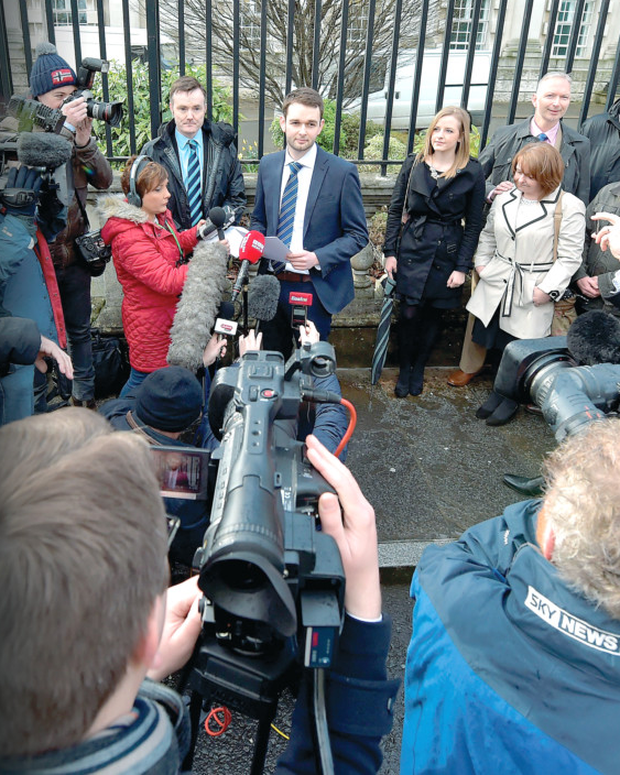 Daniel McArthur, general manager of Asher's Bakery gives a statement to the media before entering court