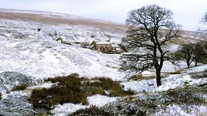 A thin covering of snow near Allenheads in Northumberland.