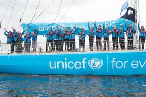 The Clipper yacht Unicef arrives in second place