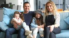 Cool FM's Pete Snodden at home in Bangor with wife Julia and daughters Elayna and Ivana