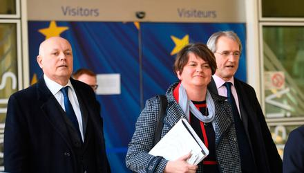 Arlene Foster, Iain Duncan Smith and Owen Paterson leaving the European Commission yesterday following a meeting with Michel Barnier to discuss Brexit