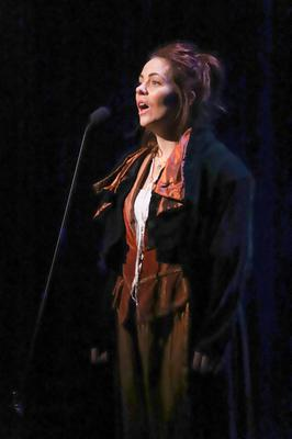 Rachel as Grace O'Malley on stage in London in The Pirate Queen