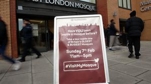 A sign welcomes visitors to the East London Mosque in Whitechapel