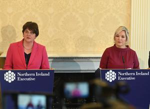 First and Deputy First Ministers Arlene Foster and Michelle O'Neill at Stormont yesterday