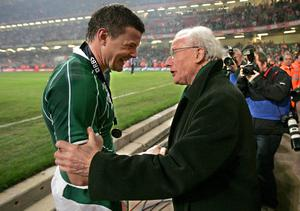 Brian O'Driscoll celebrates with Jack Kyle after a game