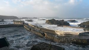 Rough seas at Ballintoy harbour, Co Antrim, as the stormy weather was causing disruption across parts of the UK with power cuts, ferry and train cancellations and difficult driving conditions.
