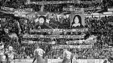 Celtic supporters unveil banners of William Wallace and Bobby Sands at a Champions League tie against AC Milan.