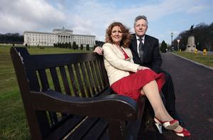 Former DUP MP and MLA Iris Robinson at Stormont with her husband, First Minister Peter Robinson