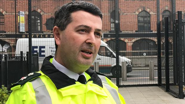 PSNI Chief Superintendent Jonathan Roberts speaks to the media at Musgrave Street Police Station, Belfast (Rebecca Black/PA)