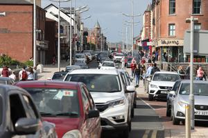 Busy Main Street in Newcastle, Co Down, as hundreds of cars travelled to the seaside town