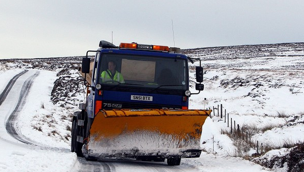 A gritter in the snow