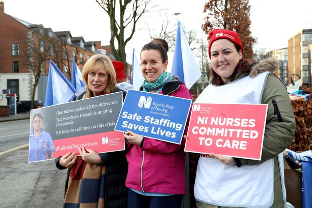 Healthcare workers protesting outside BelfastÕs City Hospital