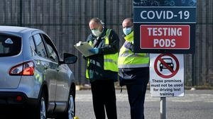 A MOT testing centre in Belfast, Northern Ireland which is being used as a drive through testing location for Covid-19, as the UK continues in lockdown to help curb the spread of coronavirus (Justin Kernoghan/PA)