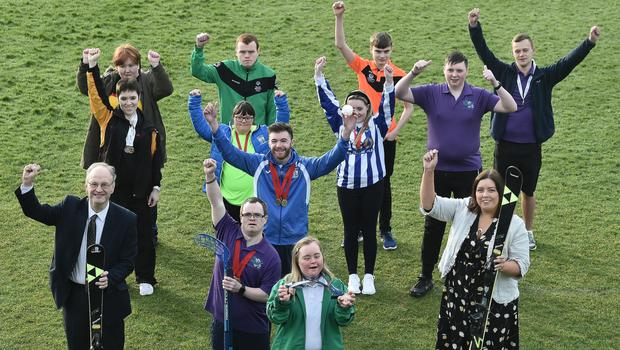 Communities Minister Deirdre Hargey MLA and Education Minister Peter Weir MLA join athletes for the launch of the 2020 Special Olympics Ireland Winter Games at Stormont
