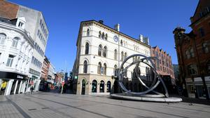 An empty Victoria Square in Belfast (Justin Kernoghan/PA)