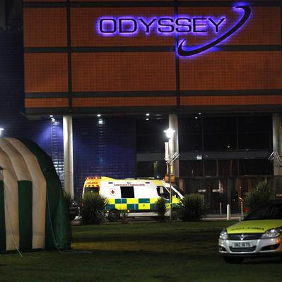 A medical tent and ambulances outside the Odyssey Arena in Belfast
