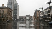 An empty Custom House Square on Tuesday