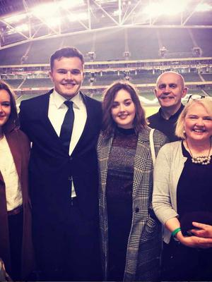 Jacob Stockdale with his parents and sisters Lydia (left) and Hannah