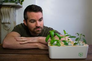 Growing success: Conor Gallagher with one of his GrowPods