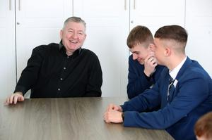 Norman Whiteside chats with pupils at Hazelwood College yesterday