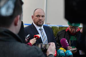 Detective Superintendent Jason Murphy speaks to the media  at the scene at Glin Ree Court in Newry