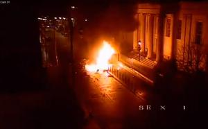 Screengrab from CCTV footage dated 19/01/19 issued by the PSNI showing a car bomb moments after it exploded outside the court house on Bishop Street in Londonderry shortly after 8pm on Saturday.