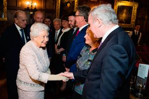 The Queen shaking hands with Deputy First Minister Martin McGuinness