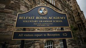 Sign at the main building to Belfast Royal Academy in Northern Ireland (Liam McBurney/PA)