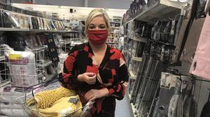 Deputy First Minister Michelle O'Neill posted a picture of herself wearing a face mask while out shopping (Michelle O'Neill/PA)Picture taken from Ms O'Neill's Twitter account.