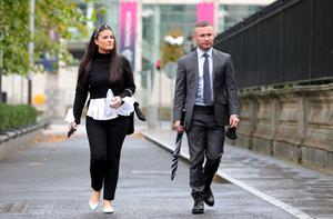 Legal battle: Carl Frampton and wife Christine make their way to the High Court