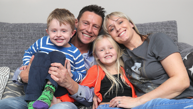 Stephen Clements with wife Natasha and their children Poppy and Robbie