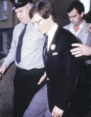 Peter Robinson at Dundalk Court in August 1986 after the invasion at Clontibret
