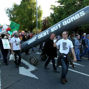 About 1,000 people have joined in the G8 summit protest march