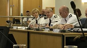 PSNI Chief Constable Simon Byrne answers questions at a public meeting of the Northern Ireland Policing Board (Rebecca Black/PA)