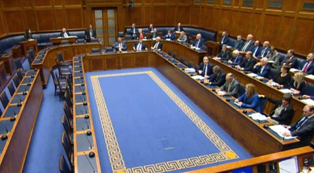 A half empty debating chamber at the Stormont Assembly in Belfast (NI Assembly TV/PA)