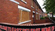 Boarded-up homes in east Belfast after trouble at an interface between the Short Strand and the Lower Newtownards Road
