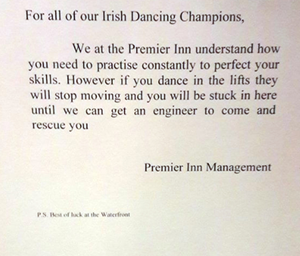 The notice in the hotel about guests Irish dancing