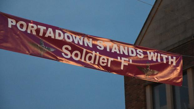 The banner was put up in Portadown town centre on Tuesday night