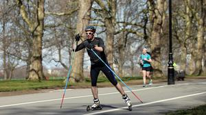 People exercising in the warm weather in Hyde Park, London, as Britain could bask in the warmest weather of the year this weekend as temperatures soar to 19C (66.2F).