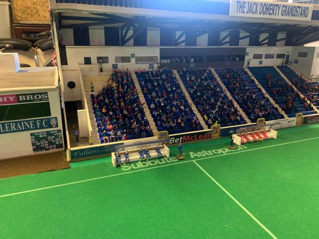 COLERAINE supporter Dave Reed has certainly caught the eye with his first ever Subbuteo project