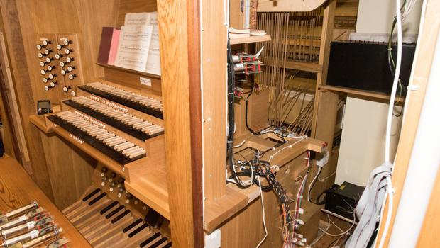 The badly damaged organ at Christ Church in Derry