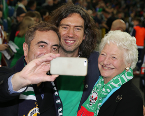 James Nesbitt, Gary Lightbody and Dame Mary Peters at the official opening ceremony of the new National Football Stadium
