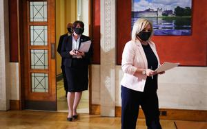 Grim outlook: Chief scientific adviser Ian Young, First Minister Arlene Foster and deputy First Minister Michelle O'Neill at Stormont on Thursday