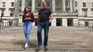 Sinn Fein MLAs Caoimhe Archibald and Conor Murphy have hit out at the pace of talks to revive Stormont. (Rebecca Black/PA)
