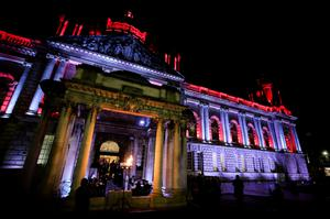Belfast City Hall is bathed in the colours of remembrance as a beacon is lit to mark the centenary of the end of the First World War