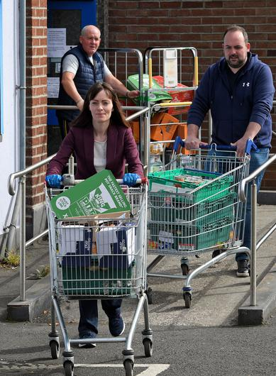 Infrastructure Minister Nichola Mallon visiting the food bank at Holy Cross Boys' in north Belfast