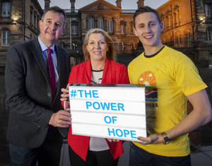 At the launch (from left) are Tom McEvoy of Pieta House, Clare McAllister of Electric Ireland and Darkness Into Light ambassador Shane Todd