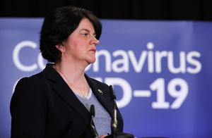 Arlene Foster at a coronavirus briefing in Stormont