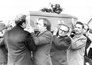 Thomas Niedermayer: General Manager of Grundig in Northern Ireland. Murdered December 1973.  CLOSE FRIENDS OF THE NIEDERMAYER FAMILY CARRY THE REMAINS OF THOMAS NIEDERMAYER THE SHORT DISTANCE FROM THE CHURCH TO THE CEMETERY.  20/3/1980