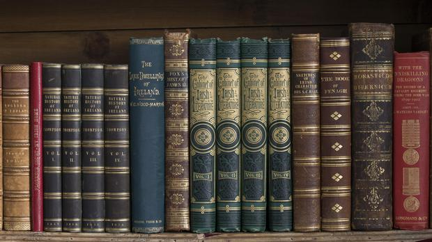 Books on bookshelves, part of the Library collections of the Earls of Enniskillen at Florence Court, Co. Fermanagh, Northern Ireland. (National Trust/PA)